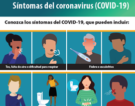 Covid Symptoms pamphlet in Spanish